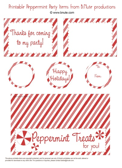 Holiday Party Free Printable Peppermint Party Invitations