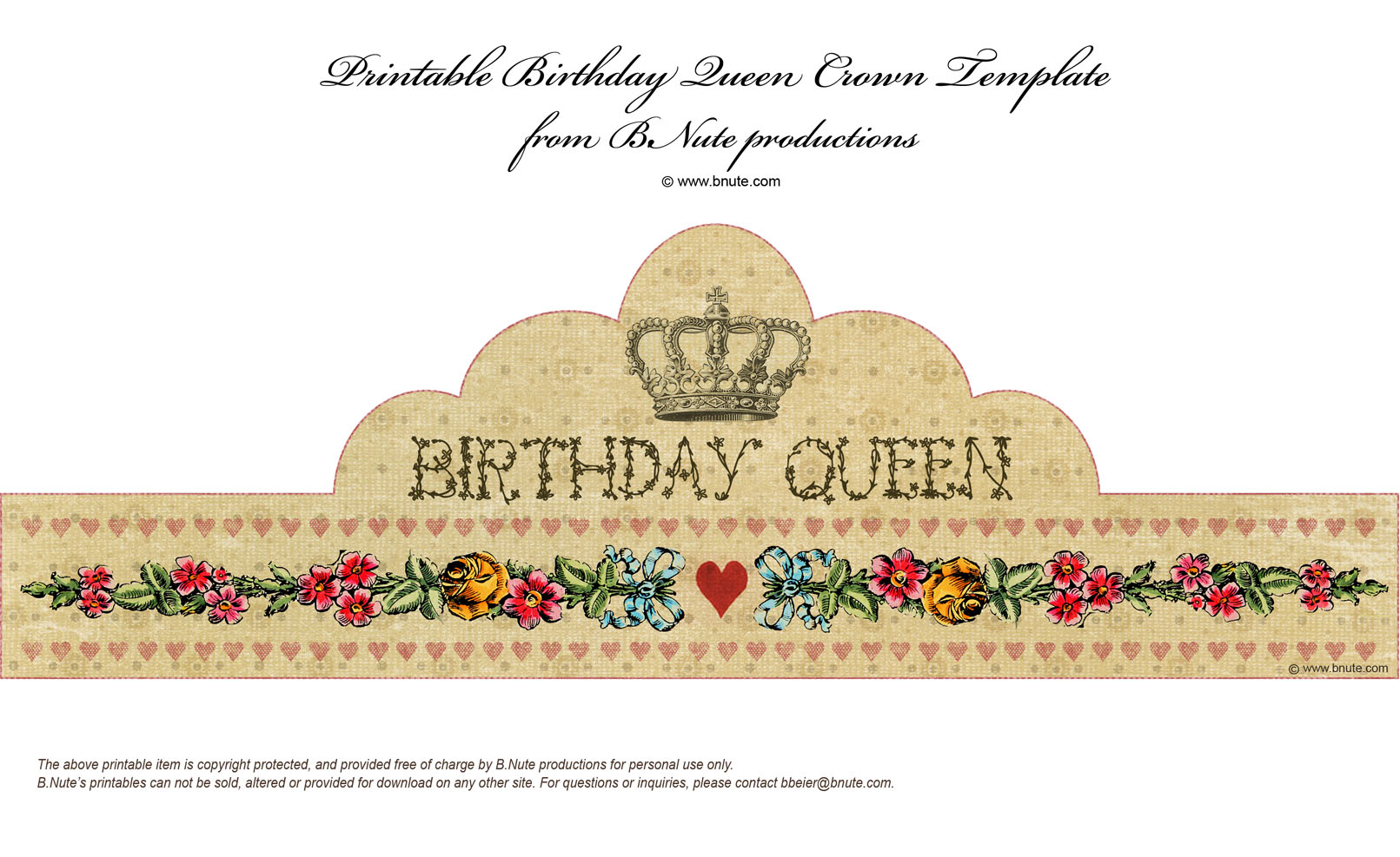 Bnute productions free printable birthday queen crown for Happy birthday crown template